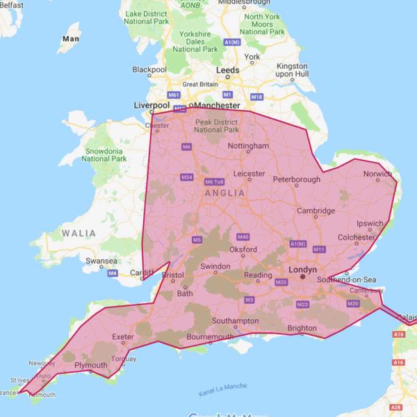 busy do Anglii ze strefy C - UK